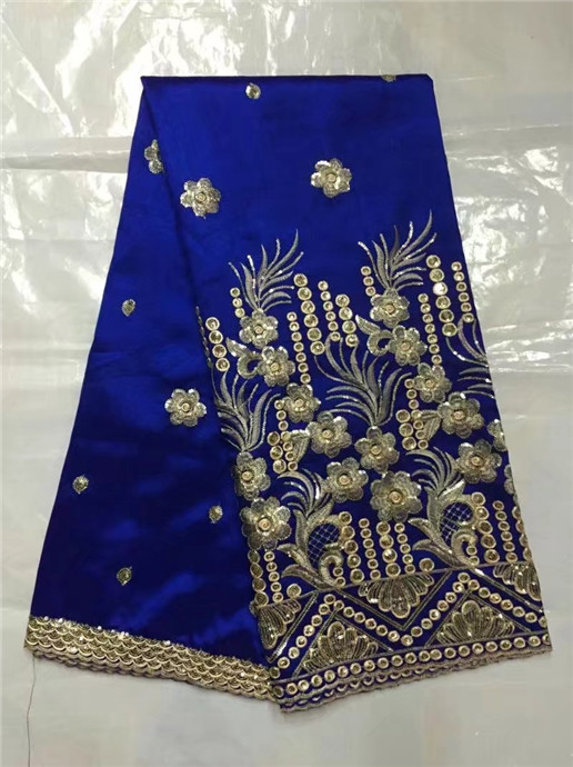 Лучшие продажи хлопка вышивка и золотые блестки дизайн Red raw шелковой ткани в африканском стиле Джордж Кружево Ткань для свадебное платье Ко...