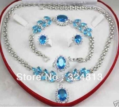 Vente chaude> De Mode Ensemble de Bijoux pour Femmes Zircon Collier Boucle D'oreille Anneau Bracelet avec la boîte-Mariée bijoux livraison gratuite