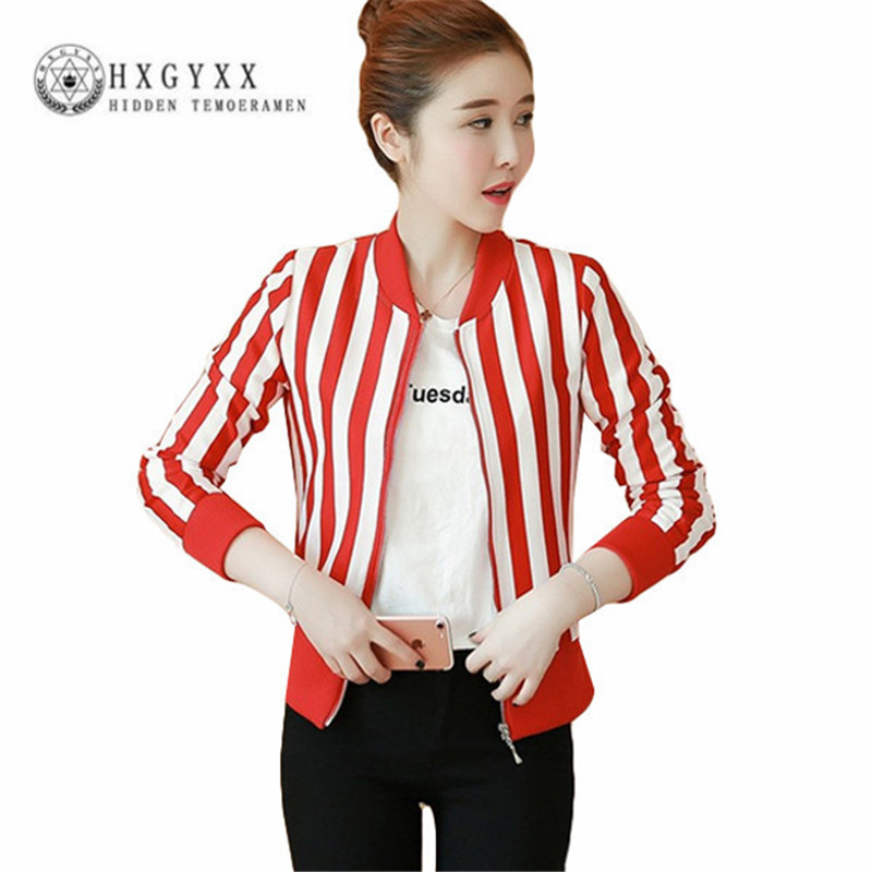 Stripe Print Outerwear Women Long Sleeve Zipper Bomber   Jacket     Basic     Jacket   Coat Summer Autumn Streetwear Jaqueta Feminina Okd103