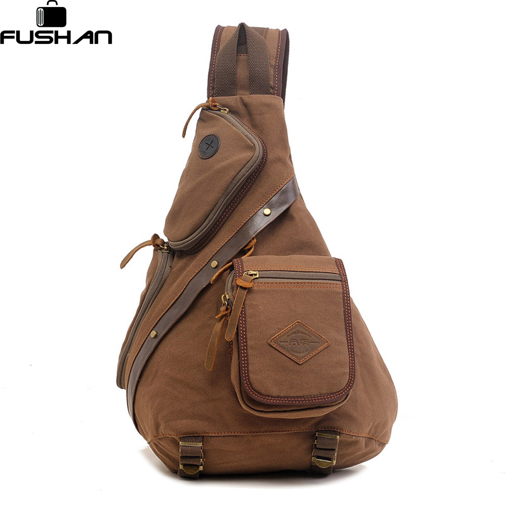 FUSHAN Brand Canvas Men Shoulder Bag Fashion Trending Oil ...