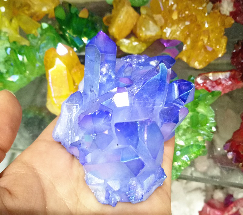 260 grams of natural quartz crystal light blue angel aura cluster specimens cured celeste Titanium coating quartz cluster
