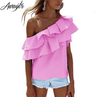 Awaytr One Shoulder Ruffles Blouse Shirt Women Tops 2017 Spring Casual Pink Striped Shirt Short Sleeve