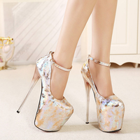 Spring New Super High heeled 20cm 22cm Hate High Shoes Single Crack Sexy Nightclub Women's Large Size Shoes 34 43 Yards