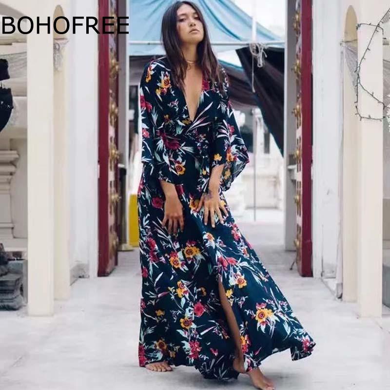 BOHOFREE 2018 Bohemian Long Dress Kimono Holiday Beach Floral Vestidos Female Vintage Gypsy Folk Cardigans Maxi Dress Boho