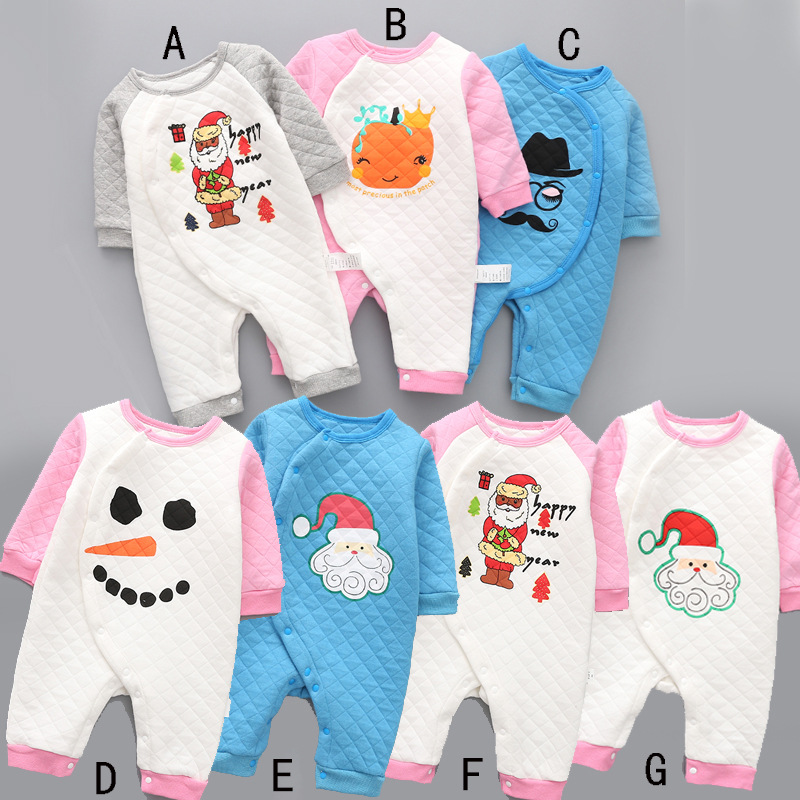 2017 New style baby cotton rompers girls thick casual clothes fashion cute infant printed santa slaus nowman jumpers 17S907