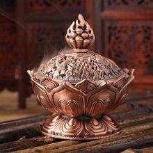 Incense-Burner Lotus Home-Decor Metal Mini Tibetan Craft Alloy Bronze