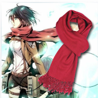 Attack on Titan Shingeki no Kyojin Mikasa Ackerman Cosplay Scarf Free Shipping