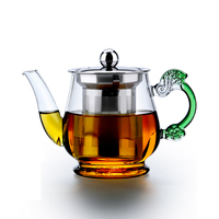 New Artistical Grip Glass Teapot with Micromesh Stainless Steel Infuser Lid Microwave Stovetop Safe Tea Kettle 14 fl.oz / 400ml