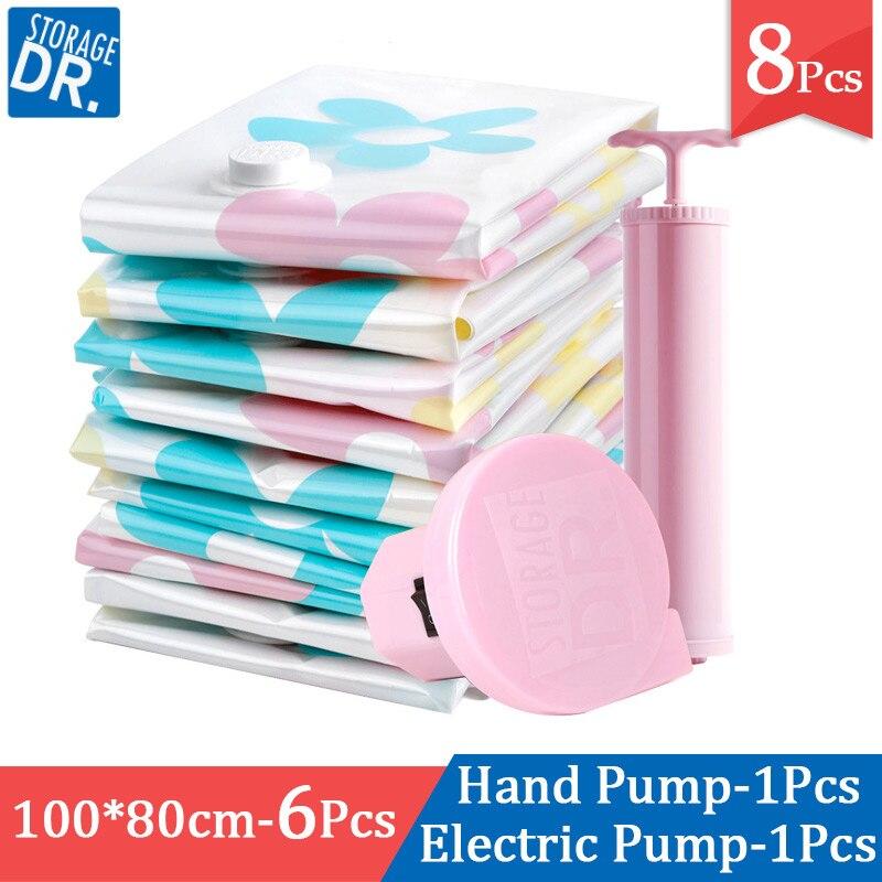 6 pièces grande taille sac sous vide avec main/pompe électrique armoire couette organisateur vêtements peluche sacs de Compression pour le stockage 100x80 cm