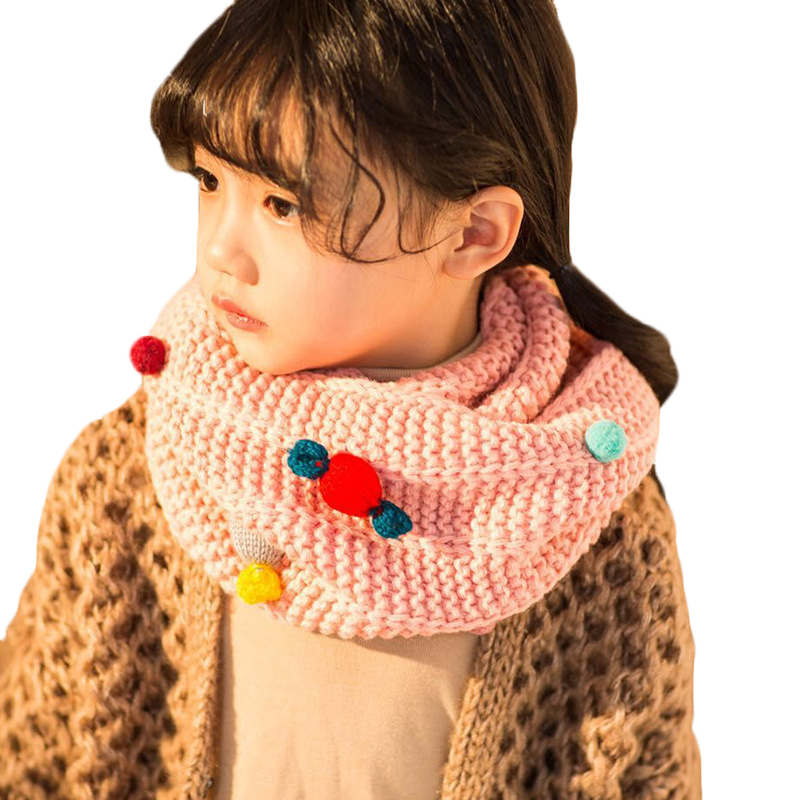 Girl's Scarves Lovely Kids Soft Winter Scarf Pompom Baby Scarf Boys Girls Warm Neck Scarves Knitting With Fur Ball Neckerchief Foulard Moderate Price Apparel Accessories
