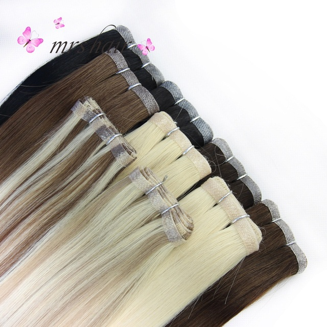 Mrs Hair 20 Skin Weft Hair Extensions 50g Tape In Human Hair Blonde
