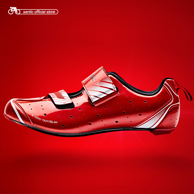 Santic Men Triathlon Shoes Cycling Road Shoes Breathable Cycling Athletic Racing Team Bicycle Shoes Nano mirror Upper MST17008 in Cycling Shoes from Sports Entertainment
