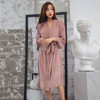 Woman Bathrobes Pleuche Winter Full Simple Solid Female Long Robes Home Wear One Size Spring Autumn New High Quality BANNIROU