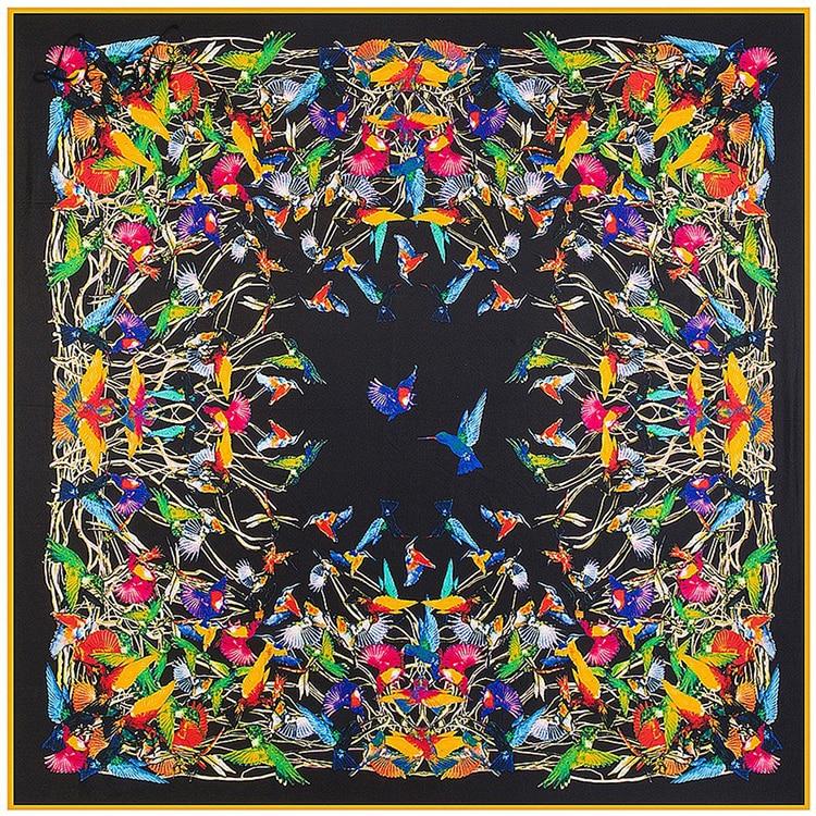 2019 Womens Vierkante Etnische Zijden sjaals Vrouwen Luxe Merk Twill Sjaal Grote Vogel Patroon sjaal Groothandel 130 * 130 1310 M