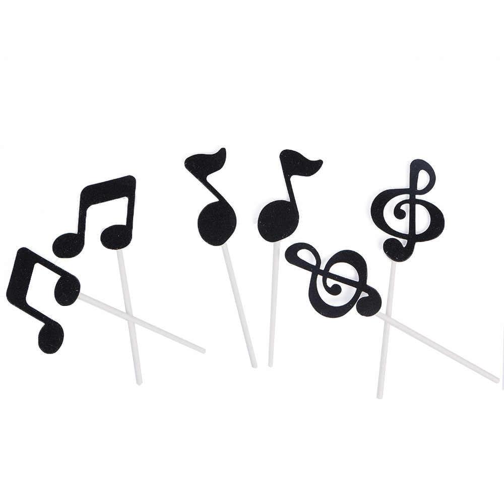6 قطعة كعكة القبعات العالية بريق الموسيقية ملاحظة كب كيك القبعات العالية حفلة عيد ميلاد الزفاف ديكور استحمام الطفل كعكة فناجين الخبز بطاقة الإدراج