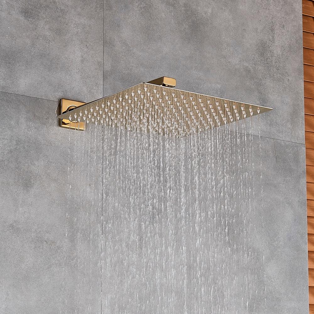 Gold Polish 8 10 12 Square Rainfall Shower Head Bathroom