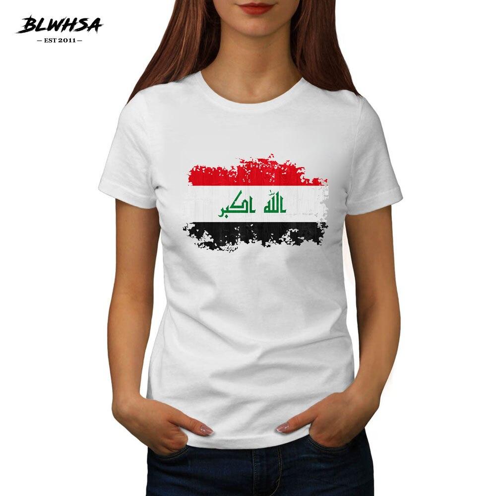 BLWHSA Printed Nostalgic Iraq Flag T Shirts Women Summer Women Clothing Short Sleeve Female O-Neck Casual Cotton Lady Tops