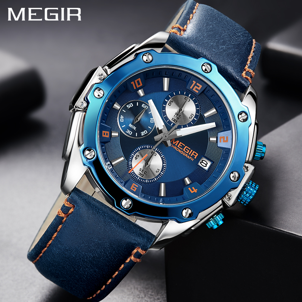 New Fashion MEGIR Sports Mens Watches Top Brand Quartz Military Watch Men Blue Chronograph Leather Luxury Wrist Watch For Men top luxury brand megir quartz watches men analog military chronograph clock men sports leather strap casual wrist watch 2016 new
