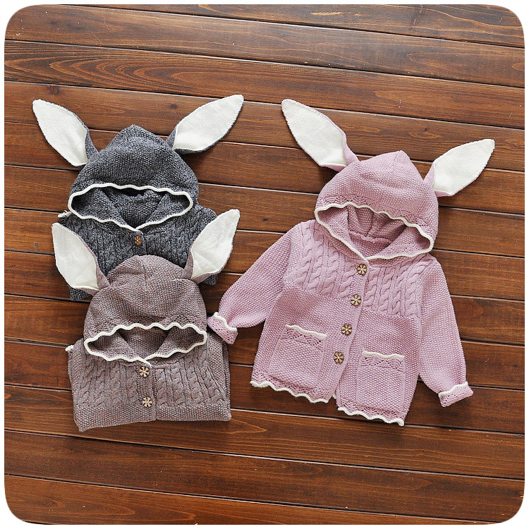Kids Winter Autumn Knitted Sweater Baby Girls Cute Rabbit Ears Hoodies Toddler Knitwear Outerwear Clothes Solid Color Coat
