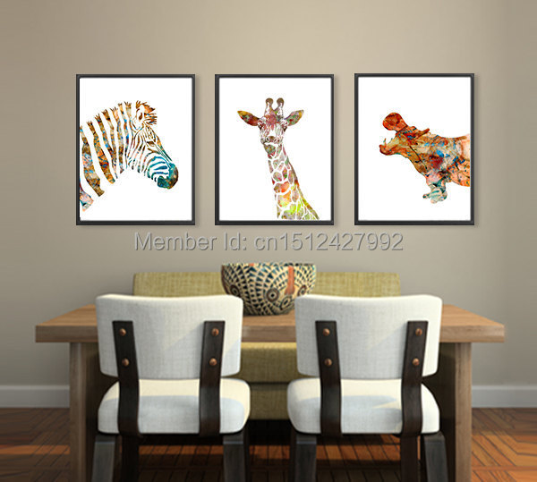 New 3 Panel Free Shipping Modern Home Decoration Wall Art Picture Zebra Giraffe Hippo Canvas
