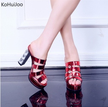 ФОТО kohuijoo platform shoes red bottom slides fashion summer shoes 2018 red blue patent leather sandals 11.5 cm super high heels