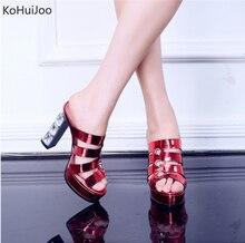 KoHuiJoo Platform Shoes Red Bottom Slides Fashion Summer 2019 Blue Patent Leather Sandals 11.5 Cm Super High Heels
