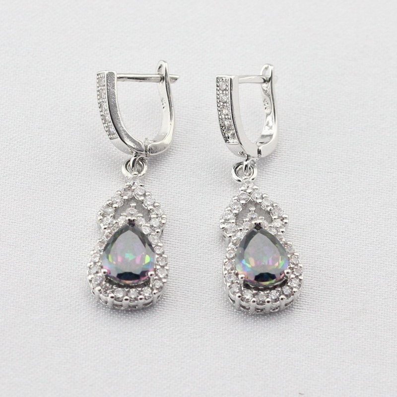 Sterling Silver Drop Earrings Multicolor Rainbow Cubic Zirconia For Women Earring Jewelry Free Gift Box platinum plated 925 sterling silver dazzling cubic zirconia halo drop earrings womens jewelry