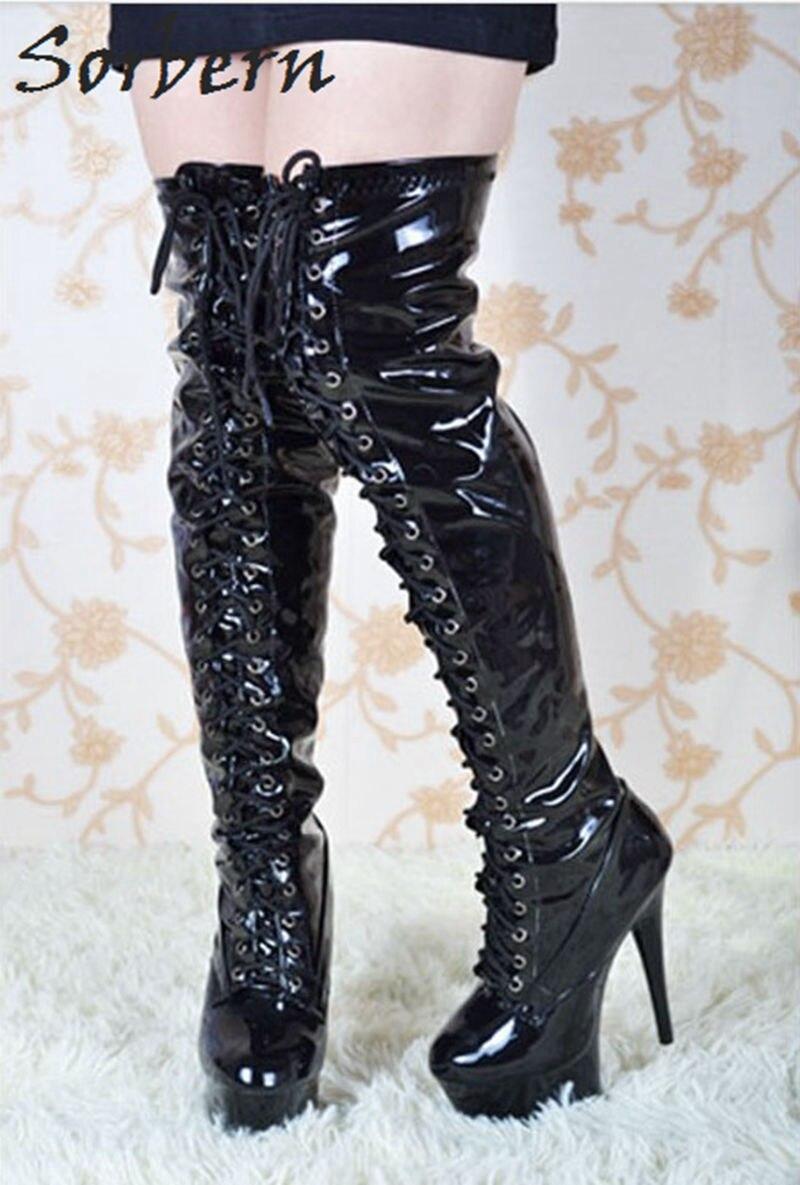Brillant Bottes Sorbern Genou Noir Rouge Dentelle Plus Automne Pour Boot Du Up Femmes Dessus forme Le Femme Sexy De Black Plate Personnalisé Chaussures tp8q4rpx