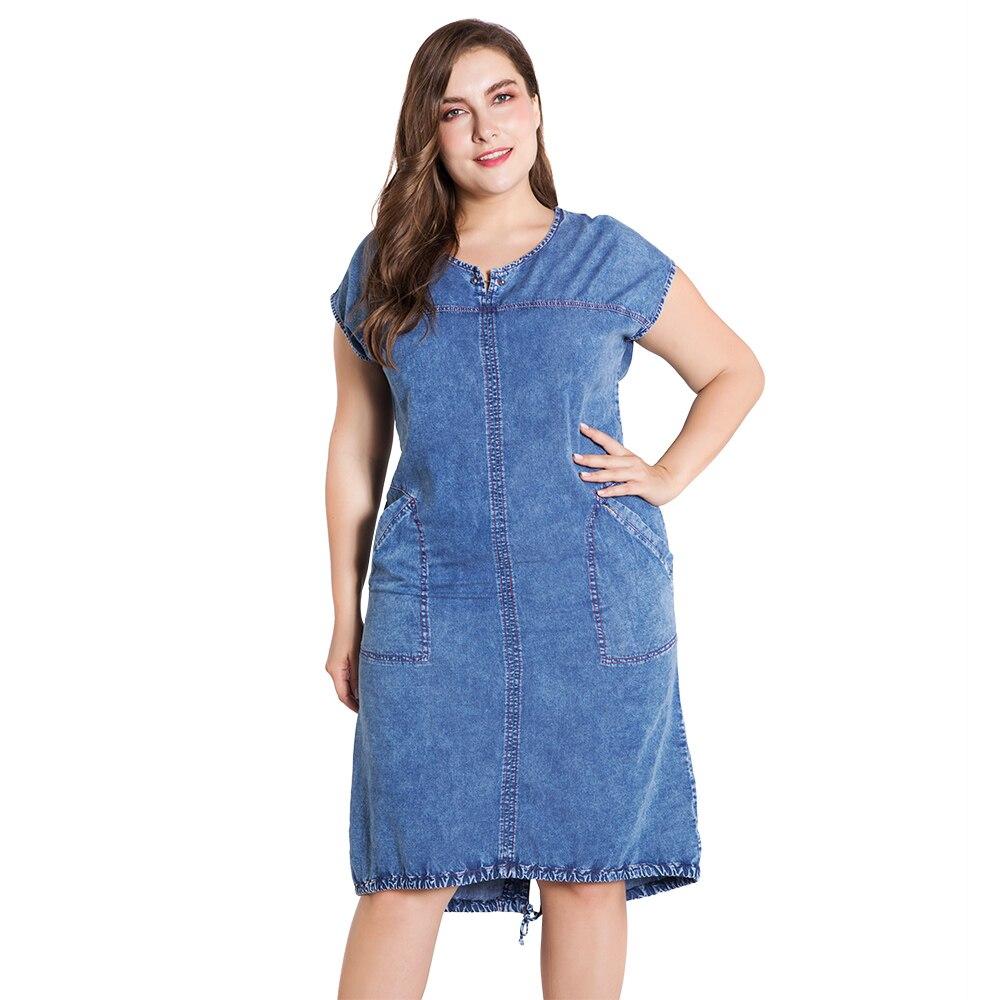 US $18.88 50% OFF|Wipalo Fashion Plus Size 5XL Denim Dress Women Knee  Length Short Sleeve Lace Up Hem Casual Pocket Jeans Dress Summer  Vestidos-in ...