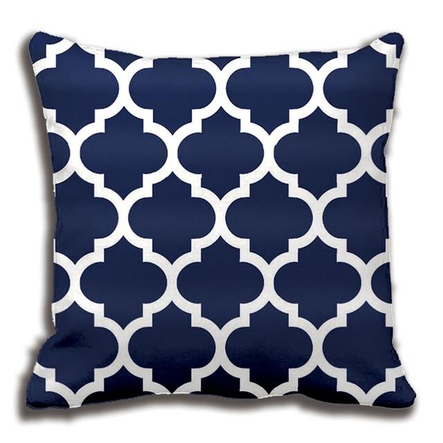 Navy Blue White Moroccan Quatrefoil Pattern Throw Pillow Decorative
