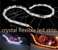 Crystal 50cm Extendable Led Flexible Drl 16leds White Amber Running Signal Transparent Daytime Running Light Headlight