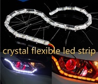 crystal 50cm extendable led flexible drl 16leds white amber flowing signal switchback drl flexible soft tube guide car led drl