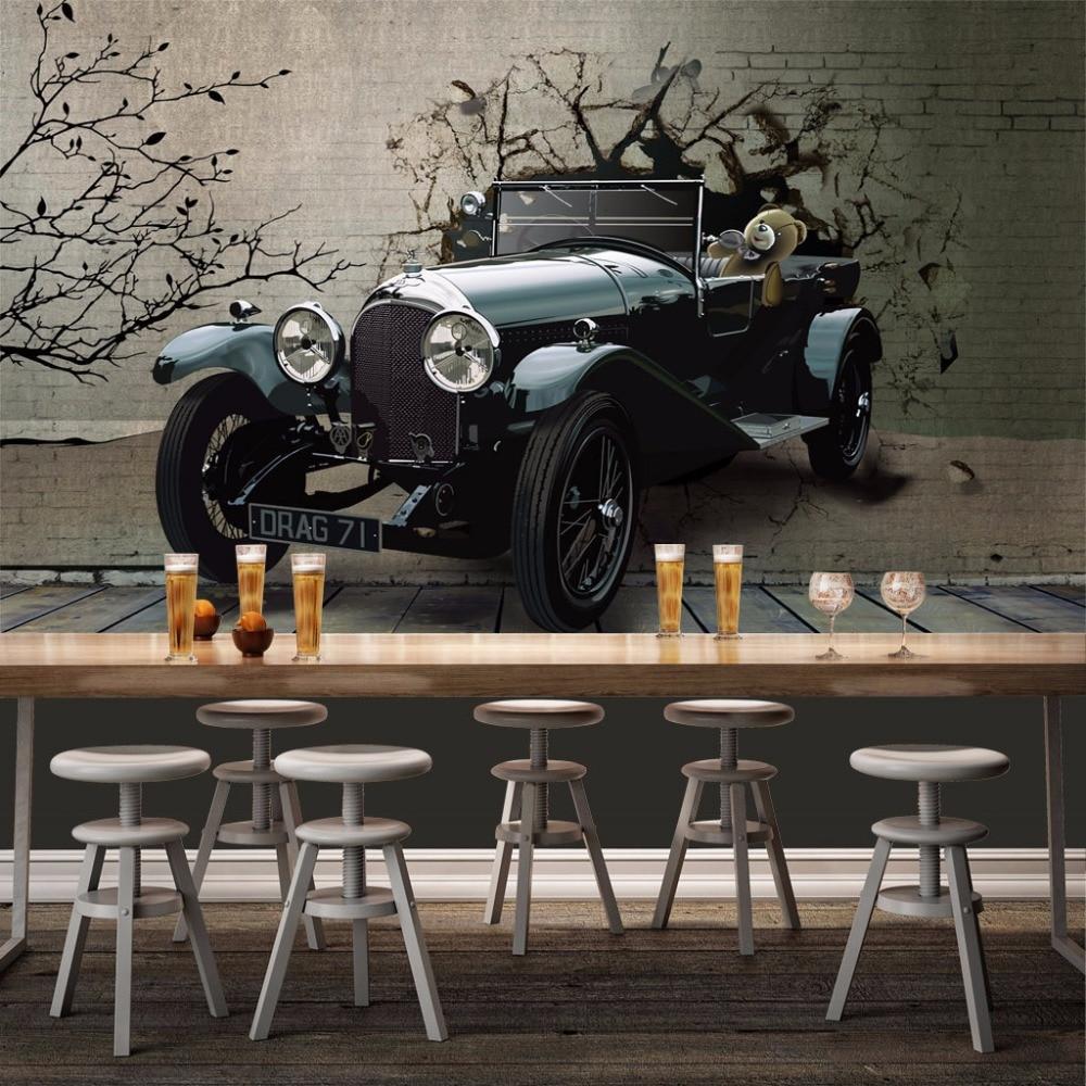Custom Any Size 3d Photo Wall Paper 3d Stereoscopic Car