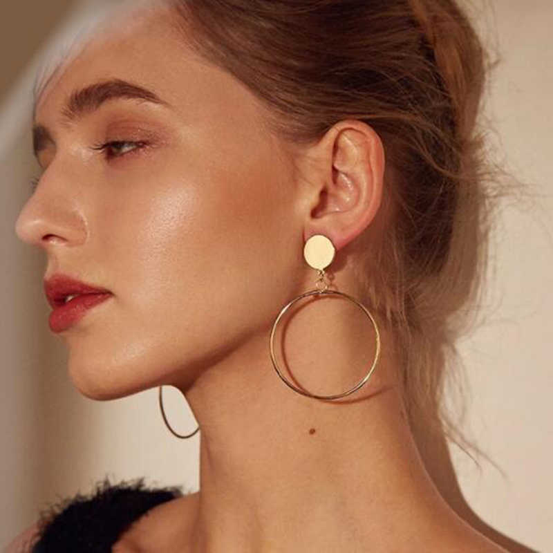 e0336 Simple Trendy Gold Sliver Color Geometric Big Round Circle Earrings For Women Fashion Large Hollow Drop Earrings Jewelry