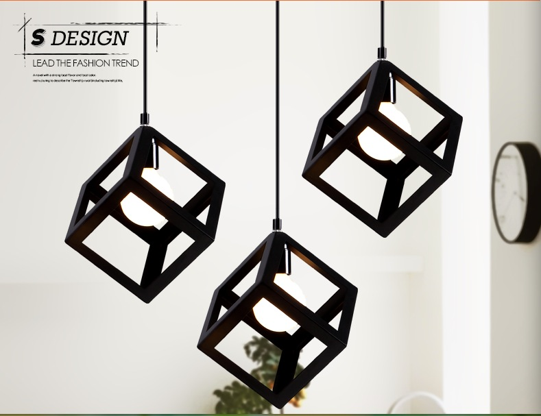 1L White and Black Vintage retro pendant lights E27 lamp metal cube cage lampshade lighting hanging light fixture Free Shipping