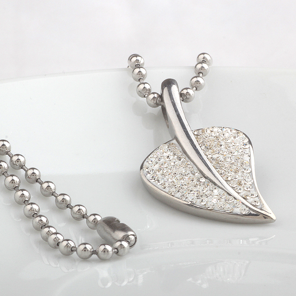 Stainless Steel Crystal Leaf Pendant Necklace