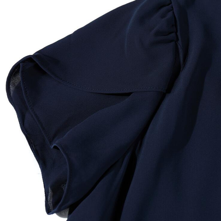 M L XL XXL 3XL 4XL 5XL Plus maat chiffon blouse 2018 Zomer O Hals - Dameskleding - Foto 6