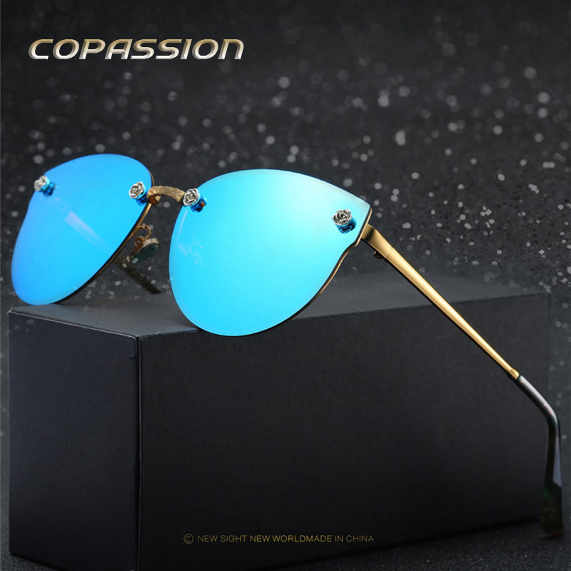 2017 Polarized rimless sunglasses women brand designer driving glasses Cat eye sun glasses uv400 Eyewear oculos de sol feminino