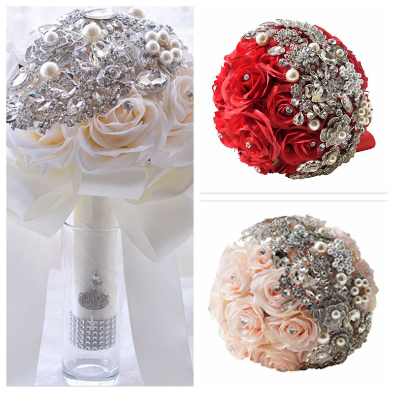 Artificial Silk Bling Bling Crystal Beaded Pearls Wedding Bouquet For Brides Ribbon Red Pink White Ivory Mariage Bouquet 2017