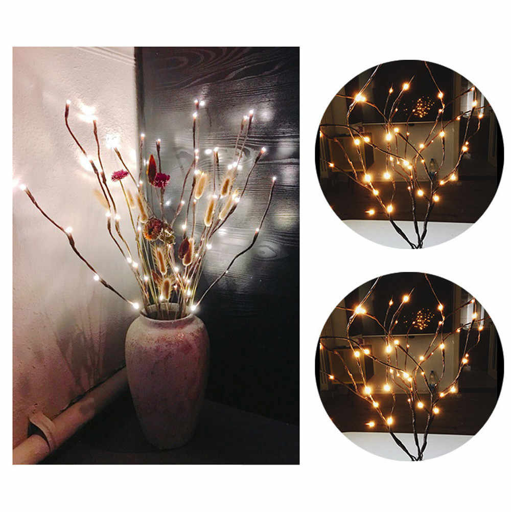 LED Willow Branch Lamp Christmas Vase Floral Lights 20 Bulbs Home Party Garden Decor Desktop Flower Decoration Lights