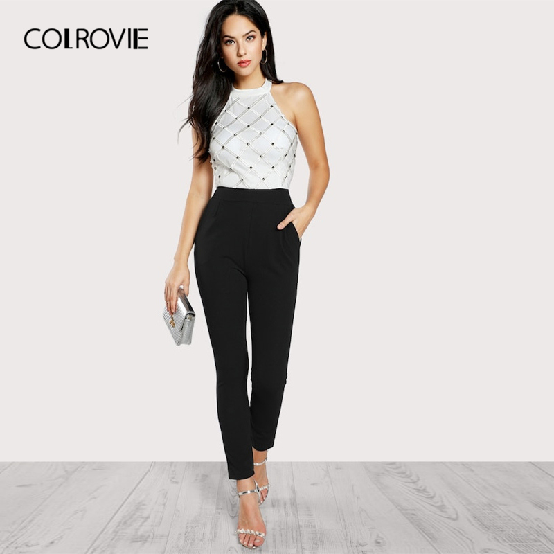 COLROVIE Black And White Riveted Plaid Embellished Halter Backless Elegant Jumpsuit Women High Waist Skinny Ladies Jumpsuits