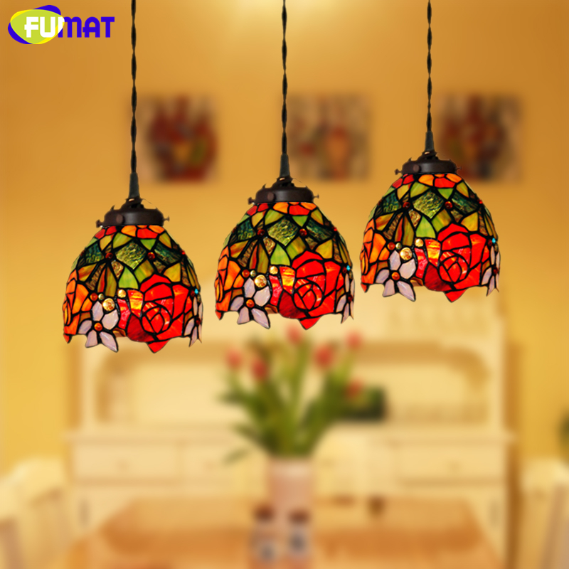 FUMAT Stained Glass Pendant Lights Garden Rose Glass Art Lamp Living Room Hotel Kitchen Dining Room