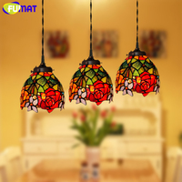 FUMAT Stained Glass Pendant Lights Garden Rose Glass Art Lamp Living Room Hotel Kitchen Dining Room Light LED Pendant Lamp