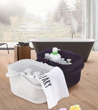 Portable bath basket bath basket desktop storage basket multi purpose plastic basket