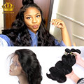 8A 360 lace frontal with bundle Queen hair 360 frontal Closure With Bundles Pre Plucked Indian Body Wave 360 lace virgin hair 1B