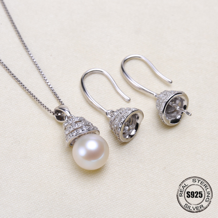 Fashion Pendant Earrings Sterling Silver Jewelry Sets Accessories Making DIY Handmade For Women Pearl Jewelry Findings