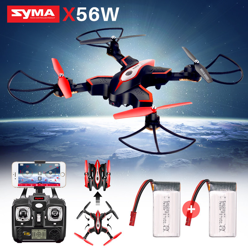 2 Batteries SYMA Official X56W RC Helicopter Foldable Quadrocopter Remote Control Drones with Camera HD Wifi FPV Quadcopter