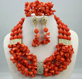 Handmade Coral women necklaces costume jewelry nigerian wedding african Coral beads jewelry set C75-1