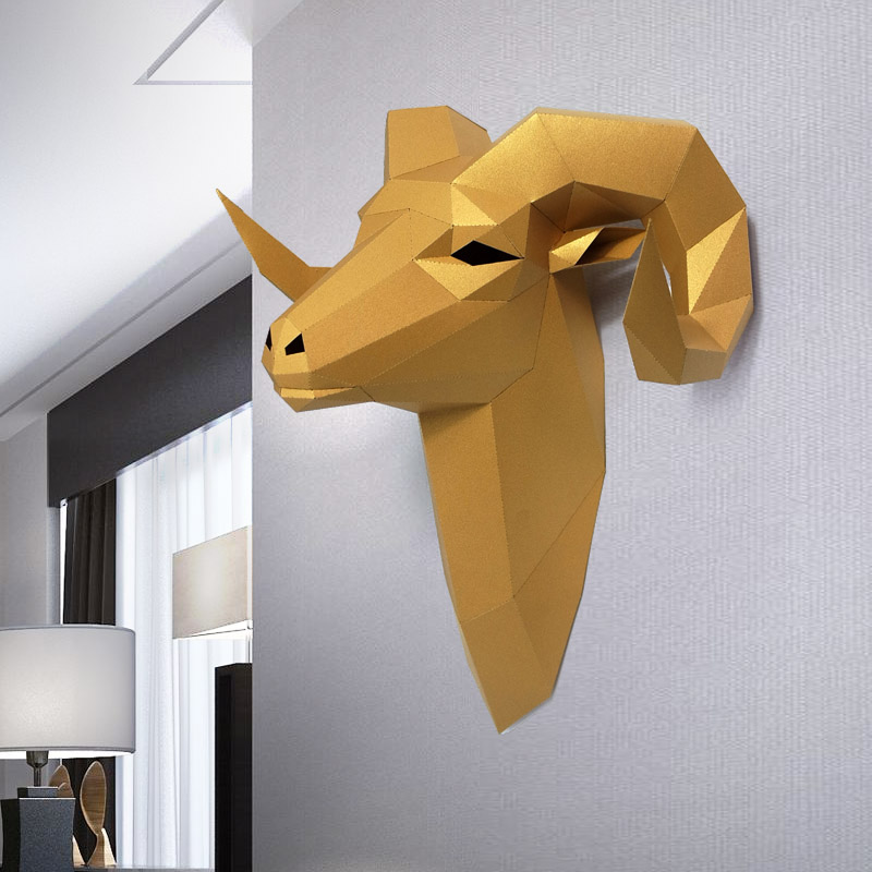 3D Goat Animal Paper Model Toy Home Decor Living Room Decor DIY Paper Craft Model Party Gift