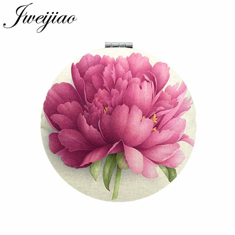 JWEIJIAO Flowers Photo Print PU Leather Makeup Mirrors Mini Round Folding Compact Pocket Mirror 1X/2X Magnifying Vanity espejo